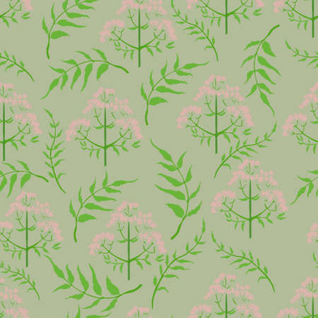 Seamless Pattern with Different Parts of Valeriana