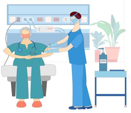 Doctor injecting vaccine in a doctors shoulder
