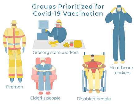Set with People First to Get Covid-19 Vaccine 向量圖像