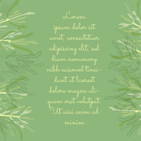 Card with Colored and Outlined Rosemary Leaves and Twigs Placed Horizontally Along the Sides. Vector Illustration for Magazine, Recipe book, Poster, Card, Menu cover etc.