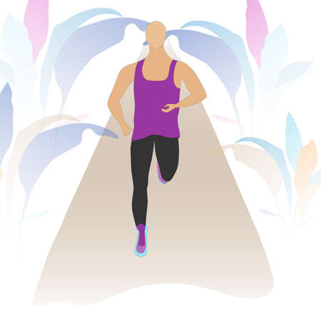 Trained Sportsman running alone on the alley surrounded with abstract florals. Semitransparent background. Flat vector design.