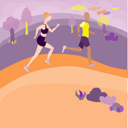 Women and Man running in the park. Enthusiastic couple running fast on the park alley. Outdoor sport activity as a part of healthy lifestyle. Surrealistic Landscape as a backdrop. Flat vector design.