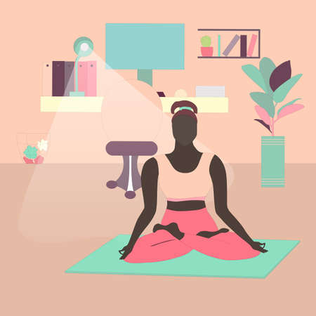 Woman Meditating In Lotus Pose at Home Office