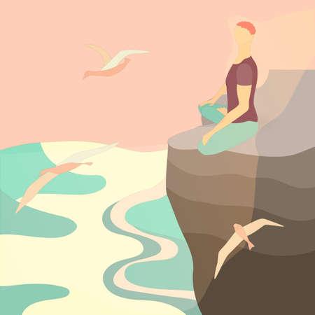Spiritual man Meditating on the Edge of a Cliff