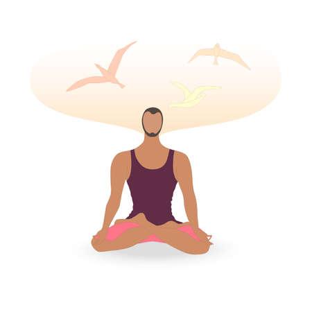 Single Man Meditating in Lotus Pose and Birds