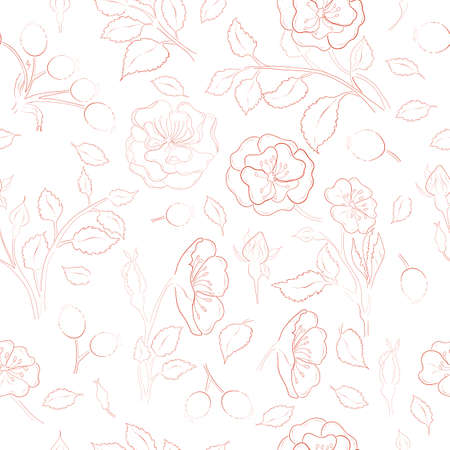 Seamless Pattern made of Dog-Rose Branches, Flowers and leaves. Hand Drawn, Contour only Briar Isolated on White Background. Ideal for Magazine, Recipe book, Poster, Cards, Menu cover etc. Illusztráció