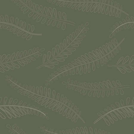 Seamless Pattern made of White Astragalus Leaves. Hand Drawn, Contour only Huang Qi, placed on Green and Grey Background. Ideal for Magazine, Recipe book, Poster, Cards, Menu cover etc.