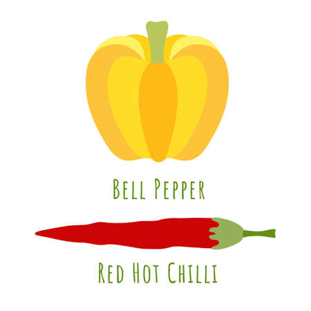 Bell pepper and red chili pepper isolated on white and made in flat style. No outlined Symmetrical shapes filled with color only. Vector illustration for product design, web and print usage. 矢量图像