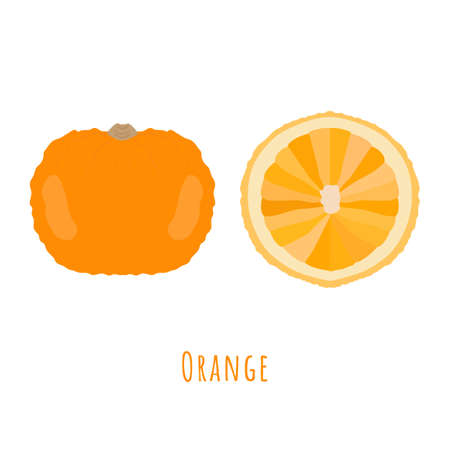 Sweet yellow whole and half cutted orange isolated and made in flat style. No outlined Symmetrical shapes filled with color only. Vector illustration for product design, web and print usage.
