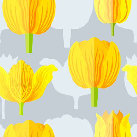 Seamless pattern with three types of yellow with orange tulips. Blue silhouettes of the same tulips on the bottom layer. Varietal tulips without leaves. Pattern for fabrics, print, web usage etc.