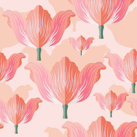 Seamless pattern with varietal pink and orange tulip. Pink silhouettes of the same tulip on the bottom layer. Symmetrical tulip without leaves. Pattern for fabrics, print, web usage etc.