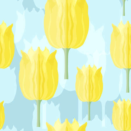 Seamless pattern with varietal yellow and blue tulips. Blue silhouettes of the same tulip on the blue bottom layer. Symmetrical tulip without leaves. Pattern for fabrics, print, web usage etc.
