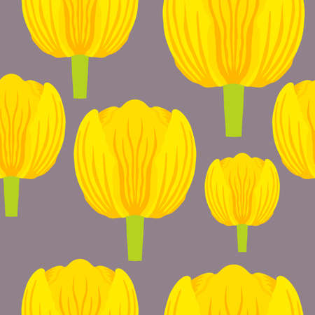 Seamless pattern with a vibrant yellow tulip