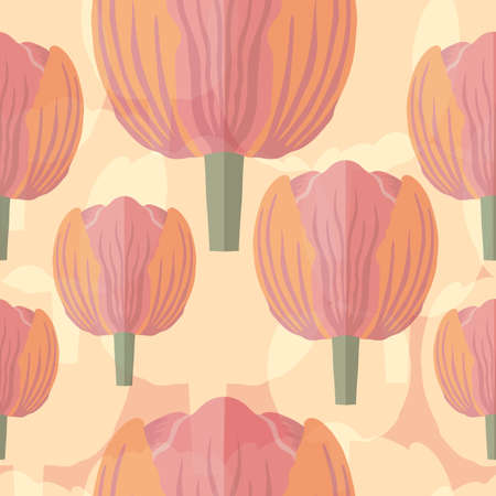 Seamless pattern with a varietal pastel pink tulip 矢量图像