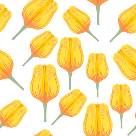 Seamless pattern with varietal vibrant yellow and orange tulip. Tulips colorful heads on the white background. Symmetrical tulip without leaves. Pattern for fabrics, print, web usage etc.