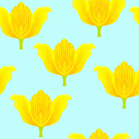 Seamless pattern with varietal vibrant yellow and orange tulip. Tulips colorful heads on the blue background. Symmetrical tulip without leaves. Pattern for fabrics, print, web usage etc. 矢量图像