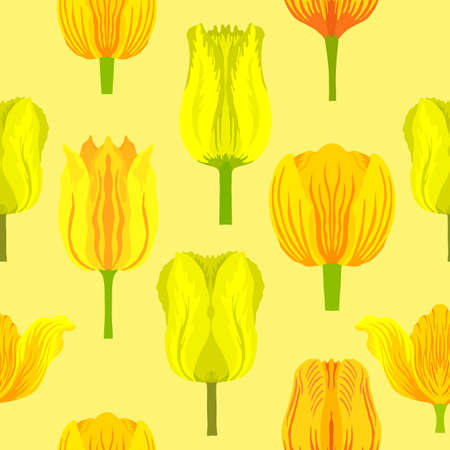 Seamless pattern with varietal vibrant yellow tulips. Tulips colorful heads on the light yellow background. Symmetrical tulip without leaves. Pattern for fabrics, print, web usage etc.