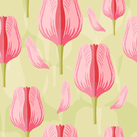 Seamless pattern with varietal pink and red tulip. Light green silhouettes of the same tulip on the bottom layer. Symmetrical tulip without leaves. Pattern for fabrics, print, web usage etc.