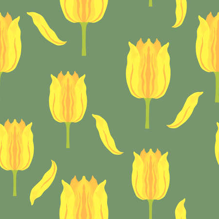 Seamless pattern with vibrant yellow and orange varietal tulips. Tulips colorful heads on the green background. Symmetrical tulip without leaves. Pattern for fabrics, print, web usage etc. 矢量图像