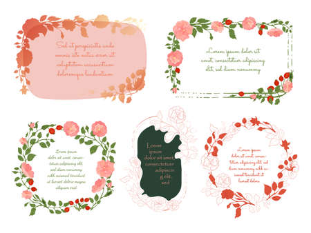 Five Frames of different designs made with Hand Drawn Outlined and Colored Parts of Rosa Canina Placed Separately. Vector Illustration for Traditional Medicine Products, Posters, Designs.