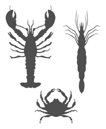 Icons with symmetrical lobster, crab and shrimp made in flat style, isolated on white background. Fresh seafood icons. Vector EPS10 illustration Illusztráció