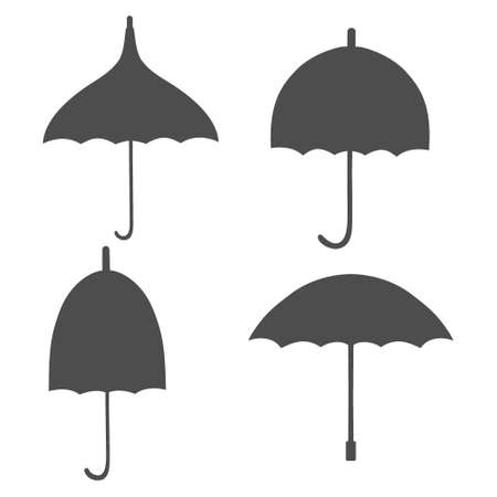 Set with icons of a four different retro umbrellas. Black umbrella shapes isolated on white background.
