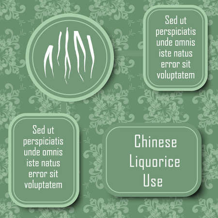 Inforgraphic Board for Traditional and Scientific Herbal Medicine Study. Chinese liquorice commonly Used Parts and Boards for Description. Vintage Design with Floral Seamless Pattern as Background.