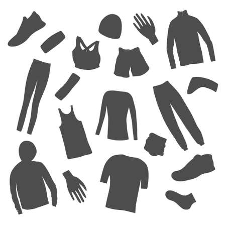 Womens Clothes for a Summer Jogging made as icons. Jogging women in the sport outwear running. Flat vector design.