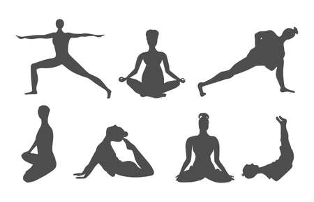 Set of icons with adults and children doing yoga. Women, men, pregnant women, girl and boy in asanas. Black icons isolated on white.