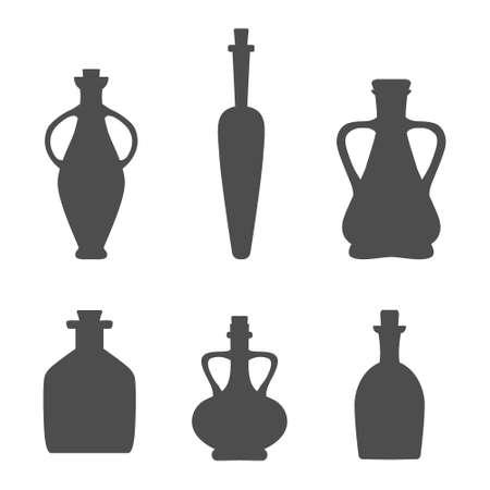 Set with icons of the bottle for wine, oils, vinegar etc. Black bottle silhouettes isolated on white background. Illusztráció