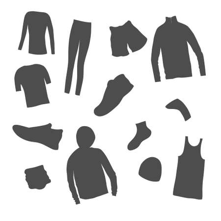 Set of Mens Clothes for a Jogging made as icons. All seasons men s sport outwear isolated. Flat vector design. Illusztráció