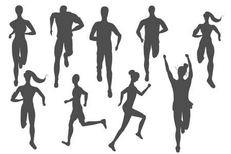 Big set of runners made as icons. Different people, man and women, side and front view. Strong Healthy Atlhletes Jogging. Isolated Flat vector.