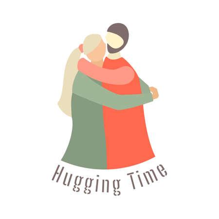 A Man and a women hugging each other. Flat vector illustration with inscription Hugging time under picture. Isolated on white background flat illustration.