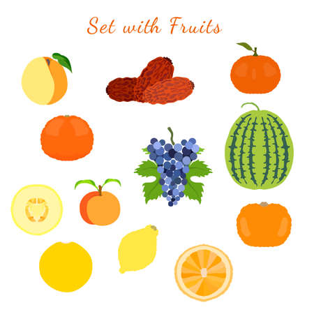 Sweet and sour, whole and half cutted citrus fruits, melon, watermelon, dates, grape, apricot and peach, isolated and made in flat style. Vector illustration for product design, web and print usage. Illusztráció