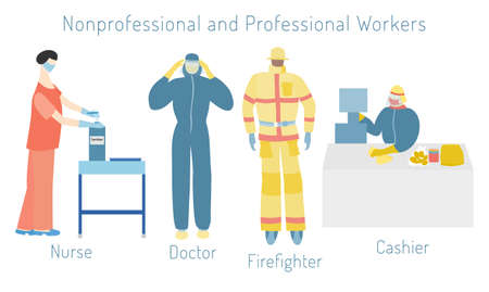 Set with a nonprofessional and professional workers. Doctor, firefighter, cashier and nurse in a protective outfits. Cashier working at the cash desk, nurse sanitizing her hands with sanitizer.