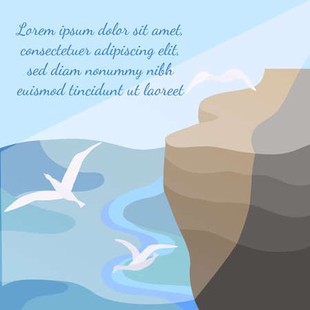 Landscape with a seashore, sunbeams and seagulls. Rock cliff with a plateau and calm sea underneath. Flat vector illustration.