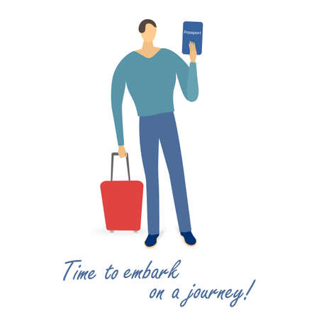 Single man with a passport and a suitcase isolated. Joyful traveler ready to embark on a journey. Simple flat illustration.