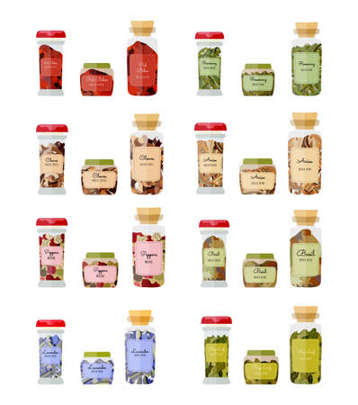 Set of glass bottles with a dried basil, peppers, anise, cloves, rosemary, pul biber, bay leaf and lavender,. Three types of the jars with the spices isolated on white background.