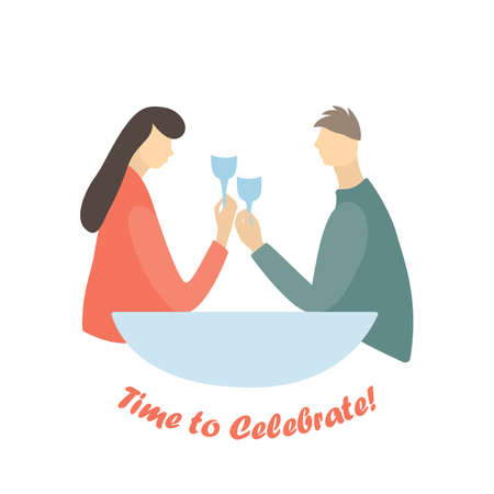 Man and Women raising glasses with alcohol in a restaurant. Flat style vector illustration. Inscription Time to celelebrate under picture.  vector illustration