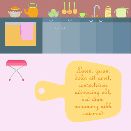 Kitchen interior with utensils made in flat style. Kitchen room with cabinets, sink, gas stove, kettle and some pots. Minimalistic modern style. Place for sample text. Illusztráció