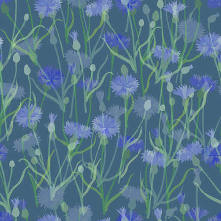 Seamless Pattern with Colored Cornflower Placed in Layers with. Optical Illusion of Depth Created by Color and Order and opacity. Seamless Pattern for Print, Packaging, Web Usage.