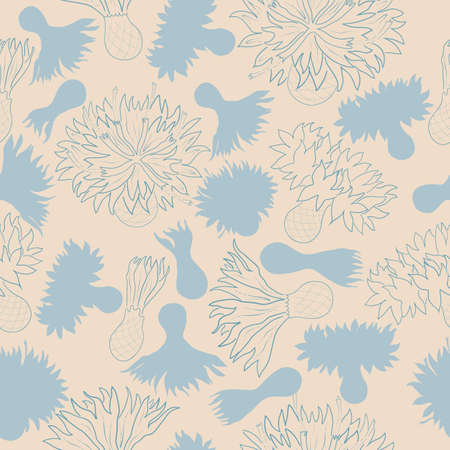Seamless vector floral pattern with cornflower heads. Isolated color and contour flowers. For easy making seamless pattern just drag all groups into swatches bar, and use it for filling any shape.