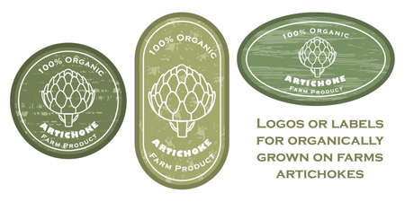 Three   patches with artichoke contour and texture. Badge for packages with organic farm grown artichokes. Different shapes of the badges. Emblems for farm products packaging.