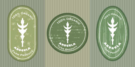 Three  patches with arugula leaf and texture. Badge for packages with organic farm grown arugula. Different shapes of the badges placed on colored background with striped linear texture.