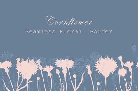 Seamless Border Made with Hand Drawn Cornflower