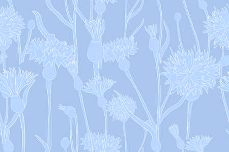 Seamless Pattern with a Blue Cornflower Parts