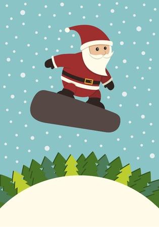 Santa Claus Snowboarding Vector
