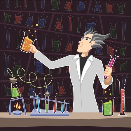 mad scientist: Scientist with Chemistry Equipment Editorial