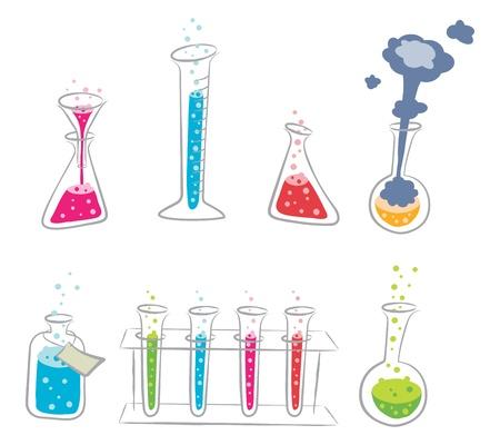 Zestaw chemii kreskówki Ilustracje wektorowe