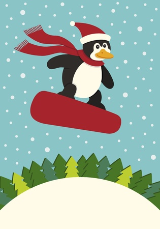 Penguin Snowboarding Stock Vector - 10662556